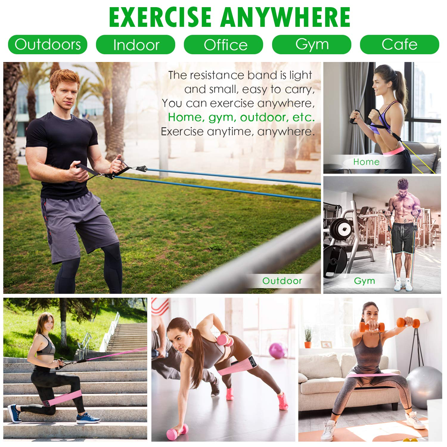 Door Anchor COOBONS FITNESS Resistance Bands Set Ankle Straps Carry Bag /& Guide Book Exercise Bands with Handles Booty Bands Out Includes 5 Stackable Workout Bands