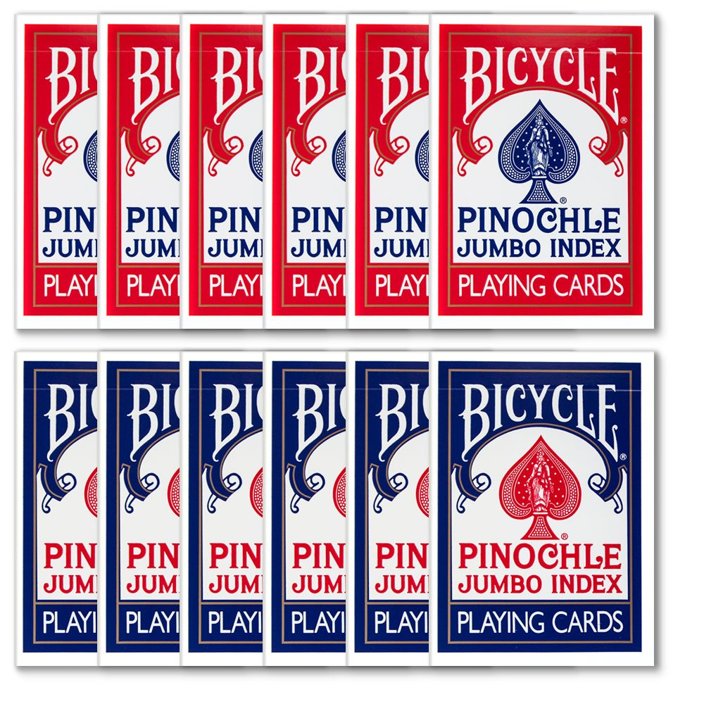 Box of Bicycle Jumbo Index Pinochle Playing Cards (1 Dozen Decks) - Includes 6 Bonus Cut Cards!