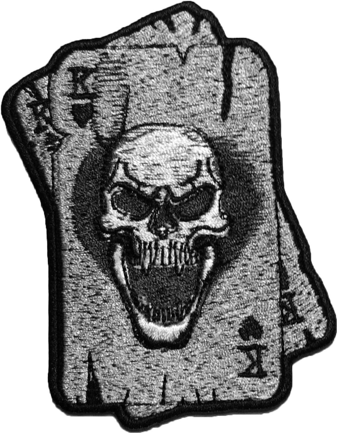 papapatch King fantasma calavera K Ace tarjeta juego de Dead Lucky Logo chaqueta de Moto chaleco motorista coser en hierro bordado de Applique Patch (iron-k-card-skull): Amazon.es: Juguetes y juegos