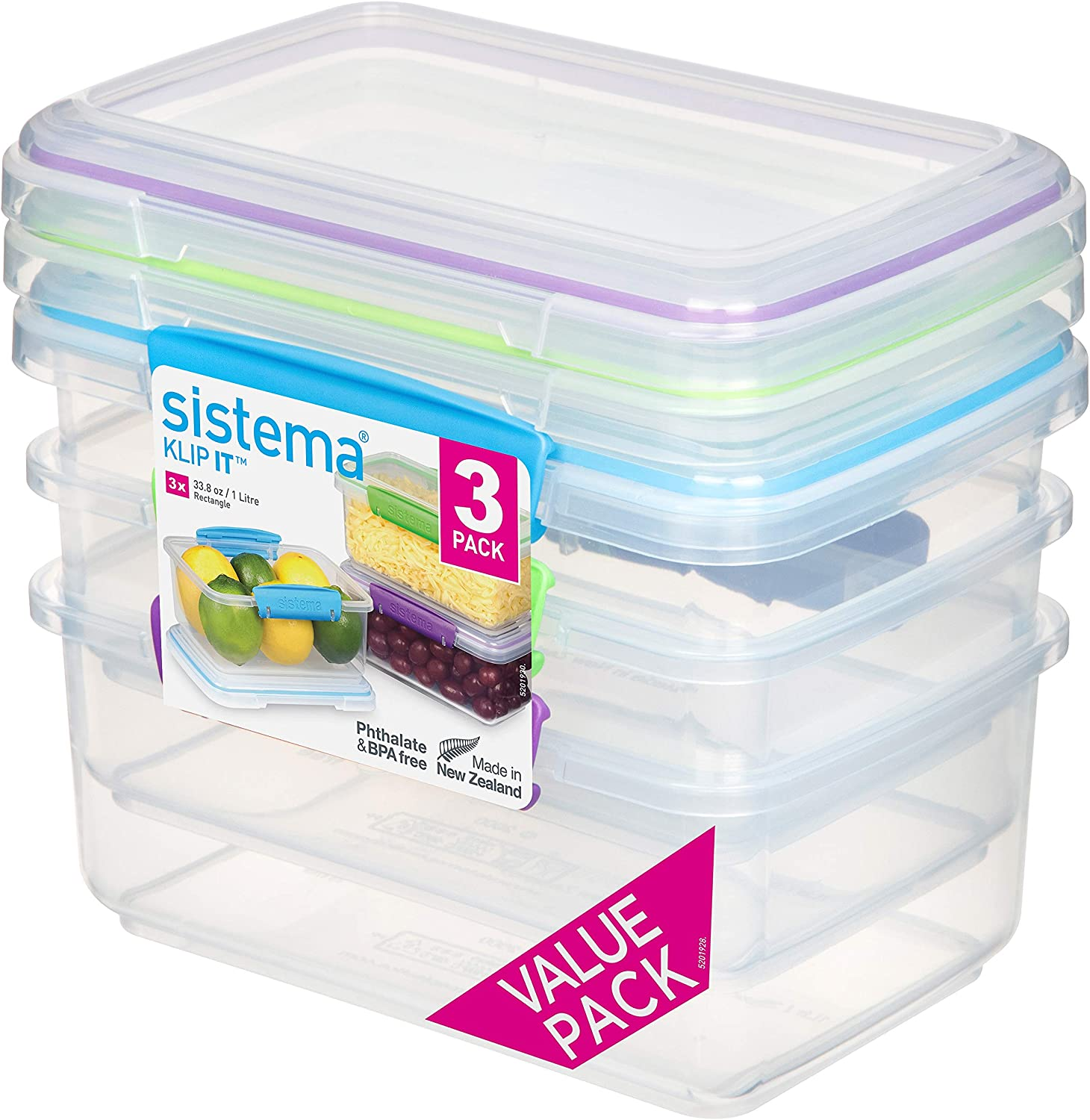 Sistema Food Storage, Polypropylene Assorted, 1L x 3