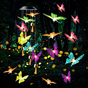 C-LARSS Solar Butterfly Wind Chimes, Solar Waterproof Wind Chimes Automatic Color Changing Butterfly Wind Chimes, 20