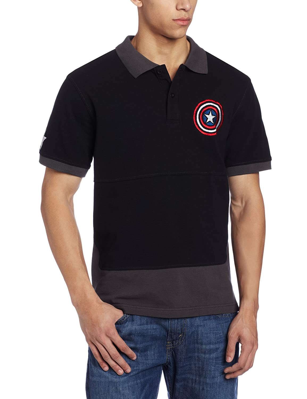 Captain America Mens Marvel Caps Polo Shirt Charcoal Small