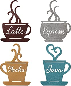 4 Pieces Metal Coffee Cup Wall Decor, Metal Cafe Themed Decorations, Brown, Turquoise, Yellow and Offwhite Vintage Mug Art for Decorative Kitchen, Dining Room, Restaurant, Coffee Shop Accessories