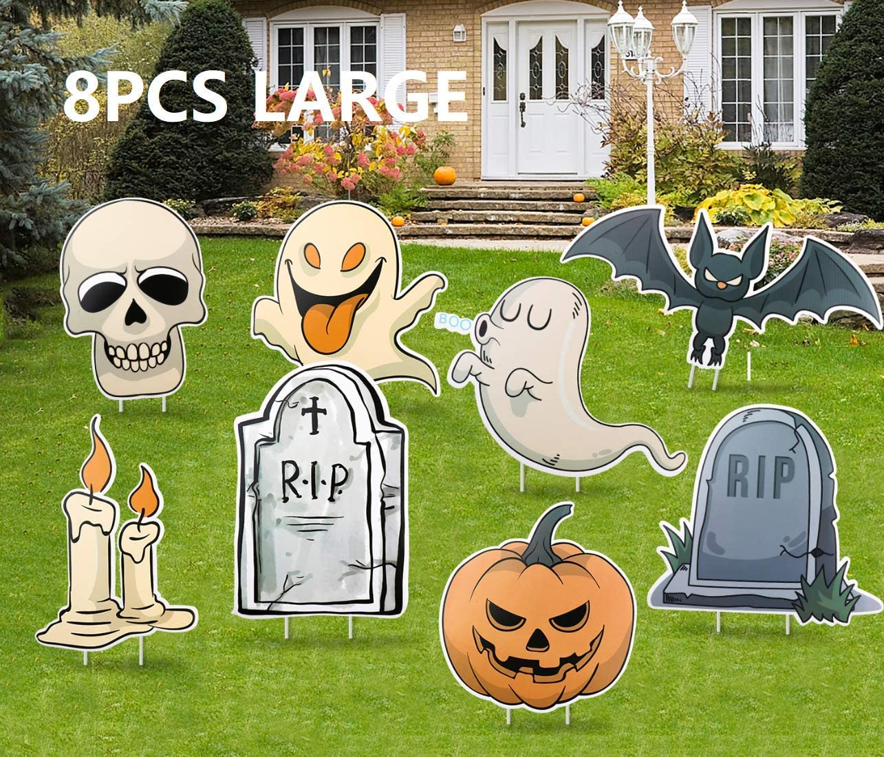 Amazon Audoc 8Pcs Halloween Yard Stakes Signs