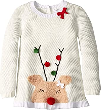 dee1fcff4a3b Amazon.com: Mud Pie Baby Girl's Reindeer Ruffle Christmas Sweater  (Infant/Toddler) Cream Small: Clothing