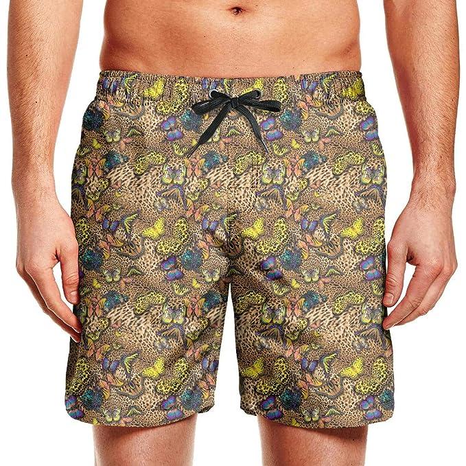 5616b8e5b064e XULANG Men Leopard Cheetah Print Black Cream Color Beach Shorts Swimming  Trunks Swim Bathing Suit Funny Boardshorts   Amazon.com