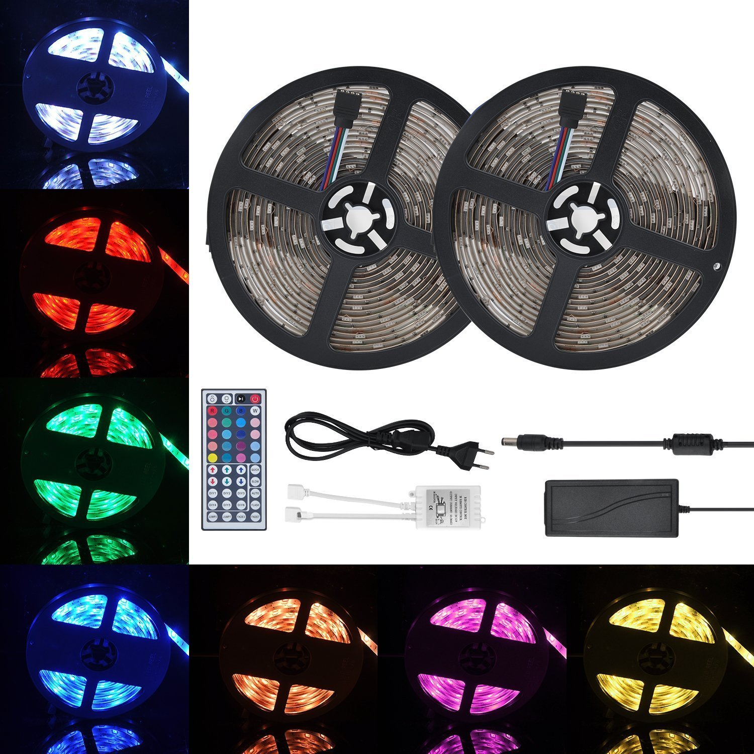 Waterproof LED Strip Lights Kit,MAGIC ROSE LED Flexible Light Strip 32.8Ft/2x5M 5050 300LEDs RGB Strip Lighting with 44Key Remote DC 12V Power Supply for DIY/Christmas/Party/Decoration/Ceiling(2 Pack)