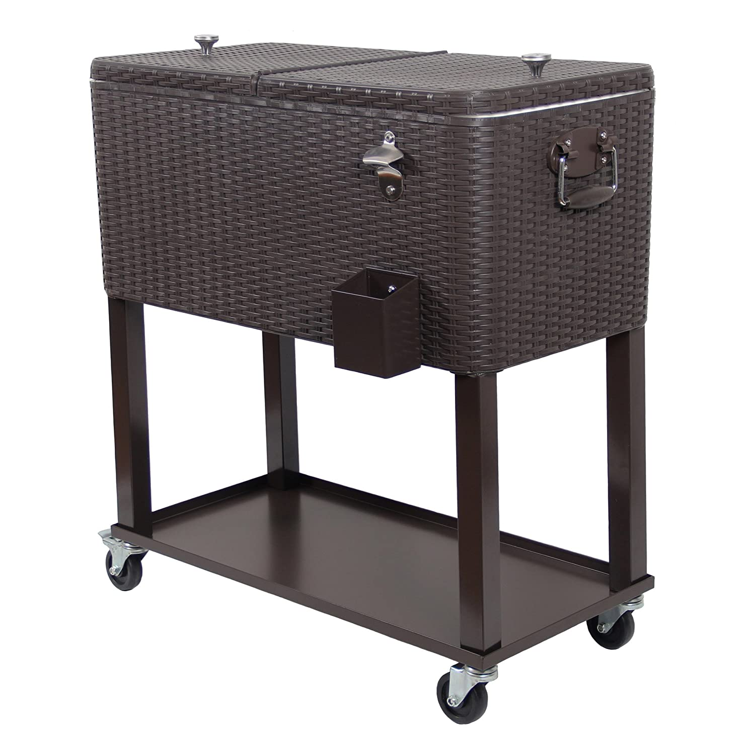 Amazon.com : UPHA 80 Quart Patio Ice Chest Cooler Cart On Wheel With Shelf  : Garden U0026 Outdoor
