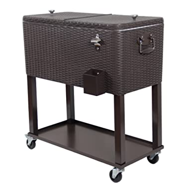 UPHA 80 Quart Patio Ice Chest Cooler Cart on Wheel with Shelf