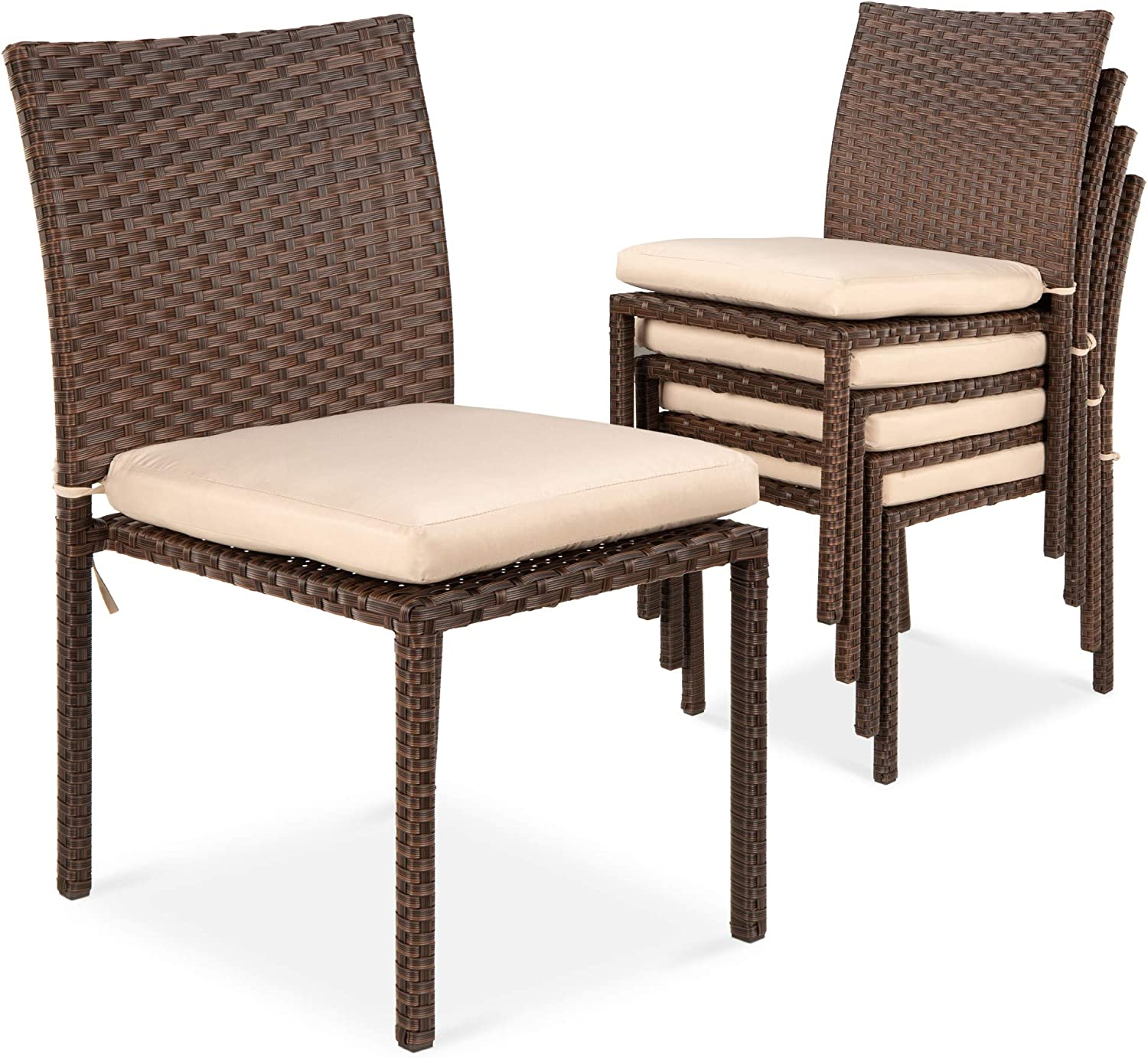 Amazon Com Best Choice Products Set Of 4 Stackable Outdoor Patio Wicker Chairs W Cushions Uv Resistant Finish And Steel Frame Brown Cream Garden Outdoor