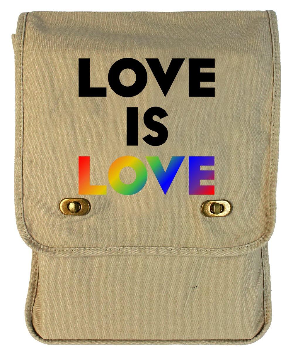 Tenacitee Love is Love Rainbow Putty Canvas Field Bag
