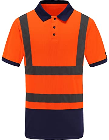 90fb9a839 A-SAFETY Reflective Orange Polo Shirt, Safety Short Sleeve ANSI Class2 Safety  Shirt,