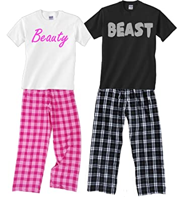 Amazoncom Beauty Beast Fun Couples Matching Pajamas Clothing