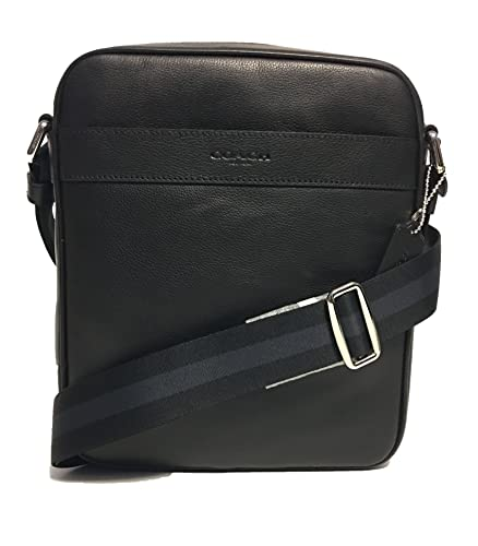 coch outlet 2fxl  Coach Outlet Mens Crossbody Messenger Bag Black Leather F54782 BLK