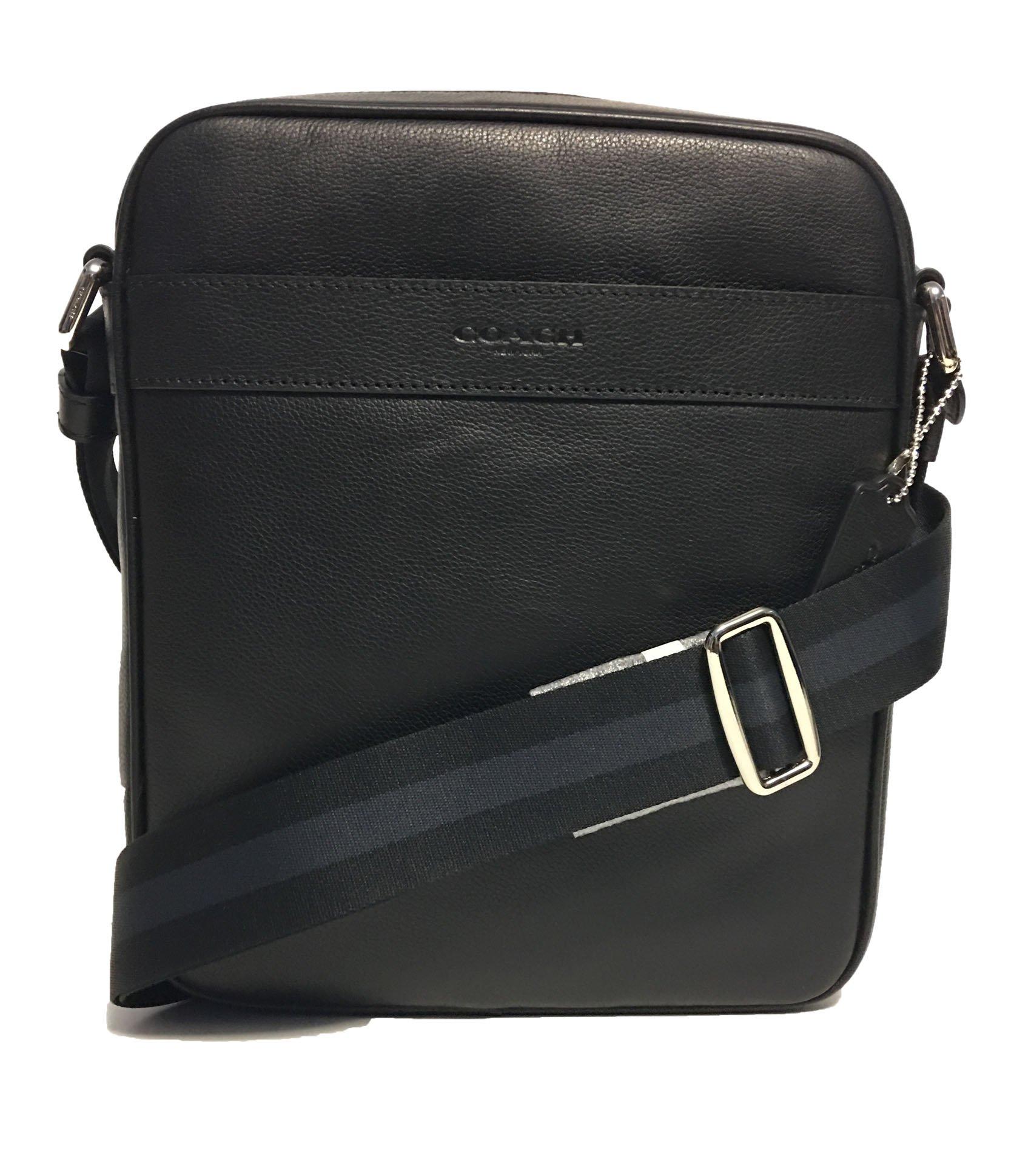 Coach Outlet Mens Crossbody Messenger Bag Black Leather F54782 BLK