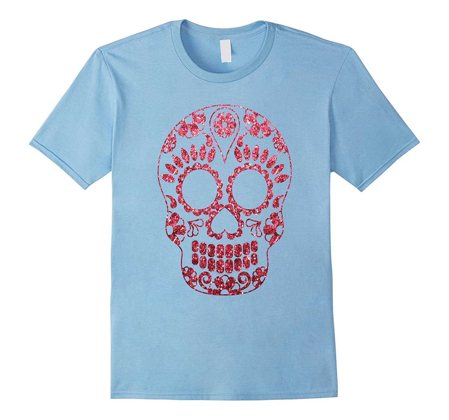 Pink glitter effect Sugar Skull Tshirt For Halloween Party-SFS