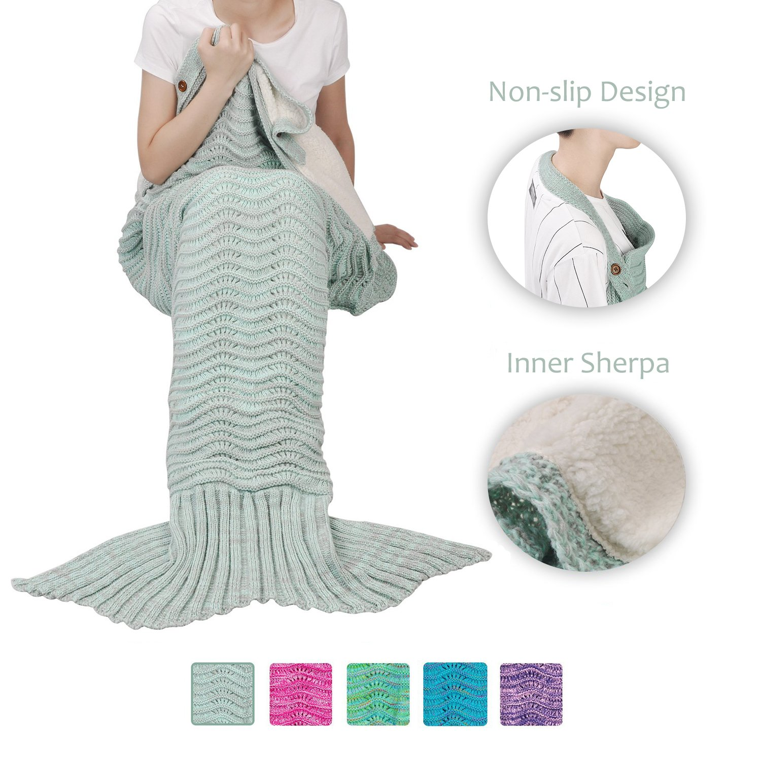 Mermaid Tail Blanket - Mermaid Tail Sherpa Blanket for Adult Women Girls Super Warm Crochet Knitted Mermaid Tail Blanket Anti-slip - Perfect Gift for Birthday Holidays Valentines by Terrania, Grey