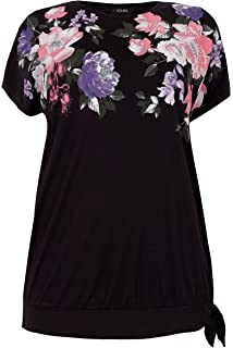8c468f298f5c1e Yours Women's Plus Size Black & Floral Print Embellished Top with ...