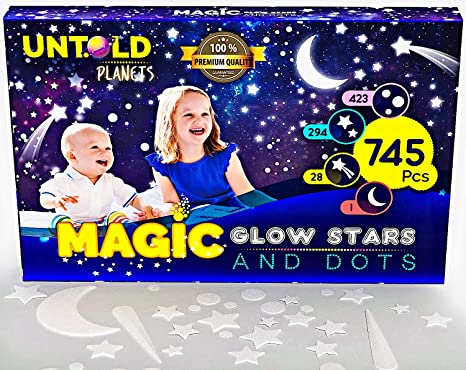 Glow in The Dark Stars for Ceiling 3D Realistic Wall Stickers Glowing Wall Decals Stickers Room Decor 745 Stars, Dots /& Moon