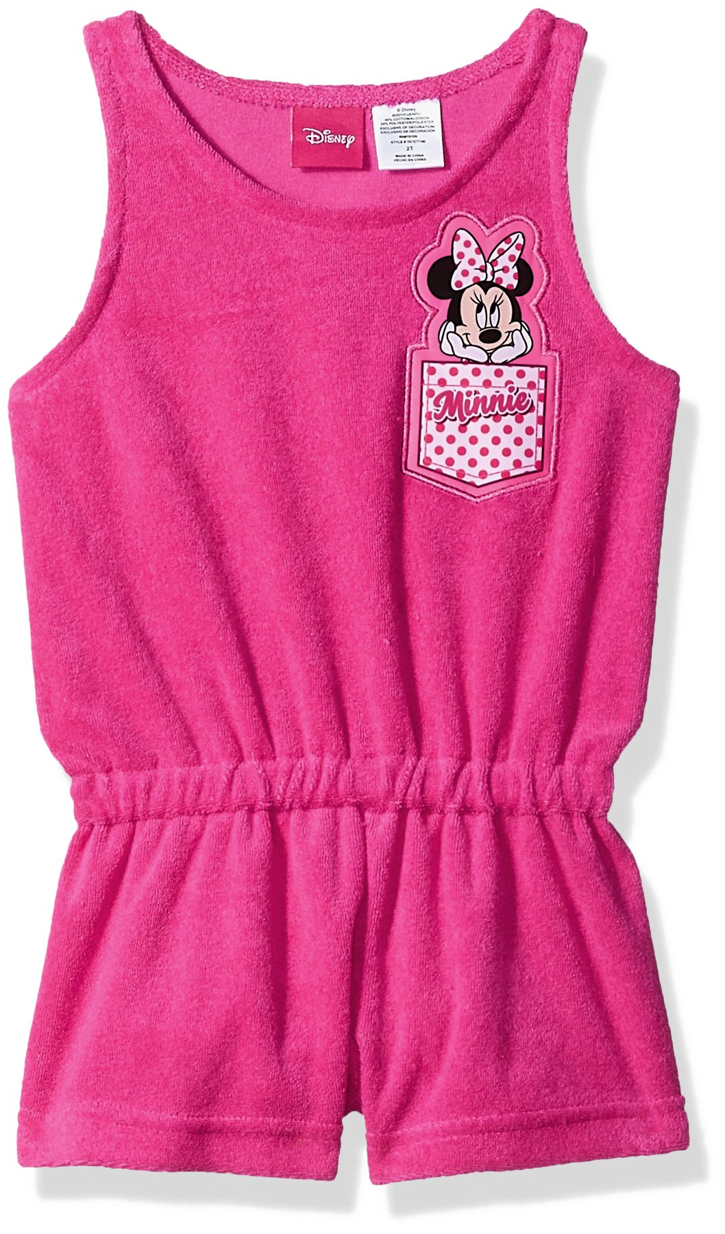 Dreamwave Toddler Girls' Minnie Mouse Terry Romper, Hot Pink, 2T