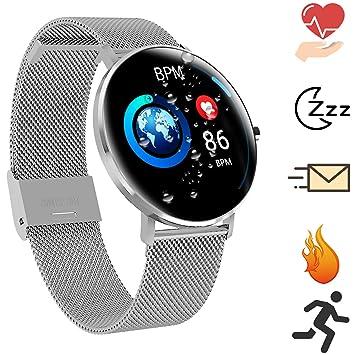 Bluetooth Smartwatch Deportes al Aire Libre Reloj Inteligente Pantalla táctil a Prueba de Agua Sueño y Medición de la frecuencia cardíaca de calorías ...