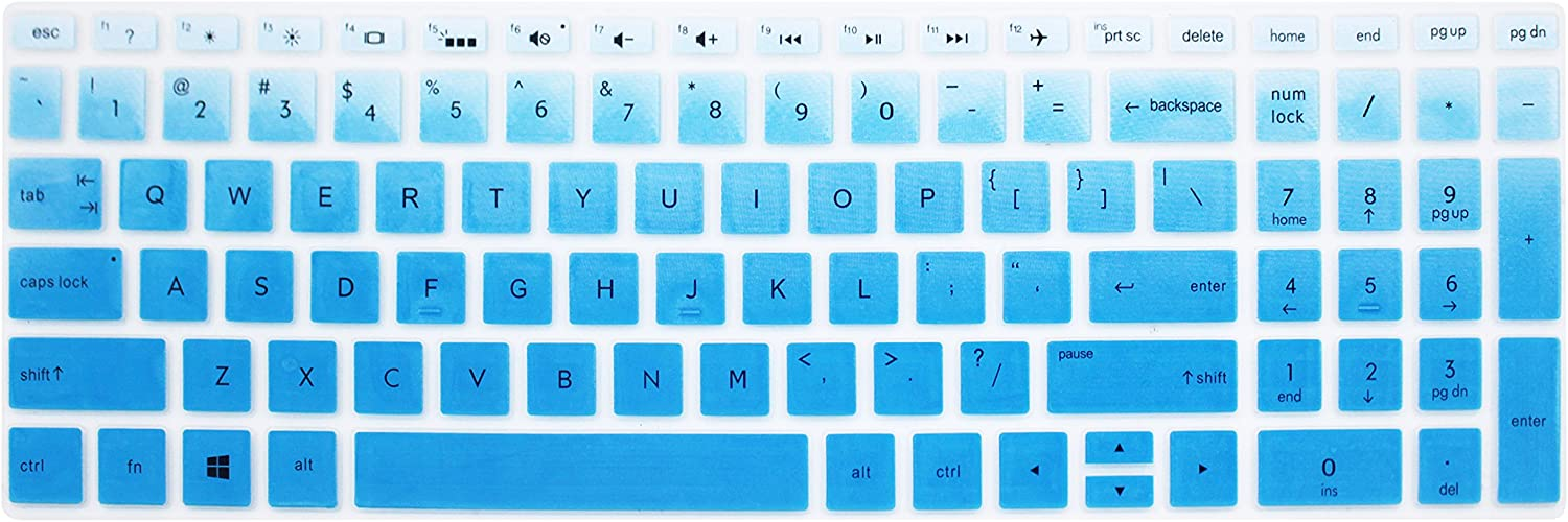 """Keyboard Skin for 15.6"""" HP Pavilion X360 15-br075nr, HP Envy x360 15m-bp 15m-bq, HP Spectre x360 15-ch011dx, HP Pavilion 15-cb 15-cc 15-cd 15-bw 15-bs & 17.3"""" HP 17m-ae 17-bs Series - Blue Ombre"""