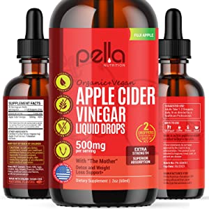 Apple Cider Vinegar Liquid Drops, 2 fl. oz Natural Detox and Anti-Inflammatory Support, Liver and Colon Cleanse, Appetite Suppressant, Non-GMO Supplement