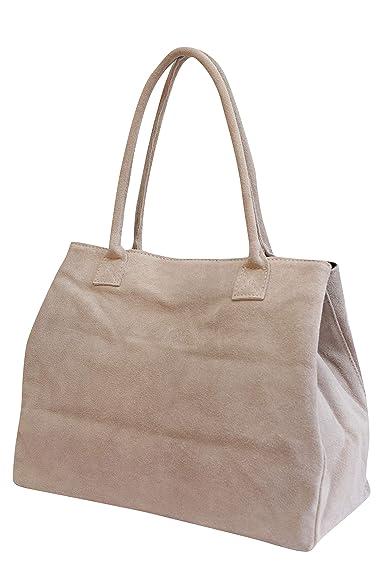 a1d7d15d184c78 AMBRA Moda Damen Wildleder Handtasche Schultertasche Shopper WL810 (Altrosa)