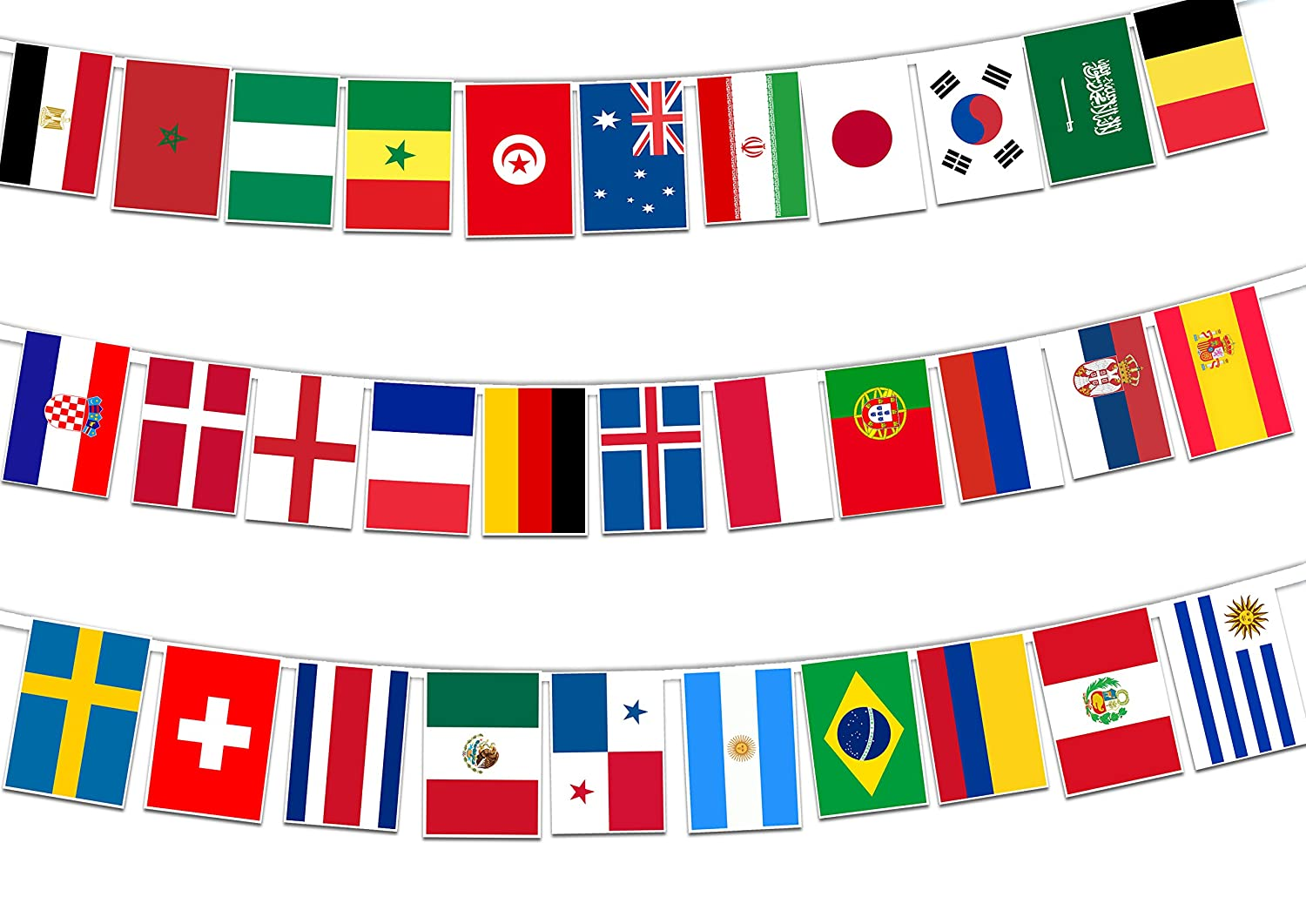 ccb1e0021655 Party Decor All Football World Cup 2018 Finalists Countries Flags -  Rectangular Bunting Banner 32 flags for simply stylish Football World Cup  party ...