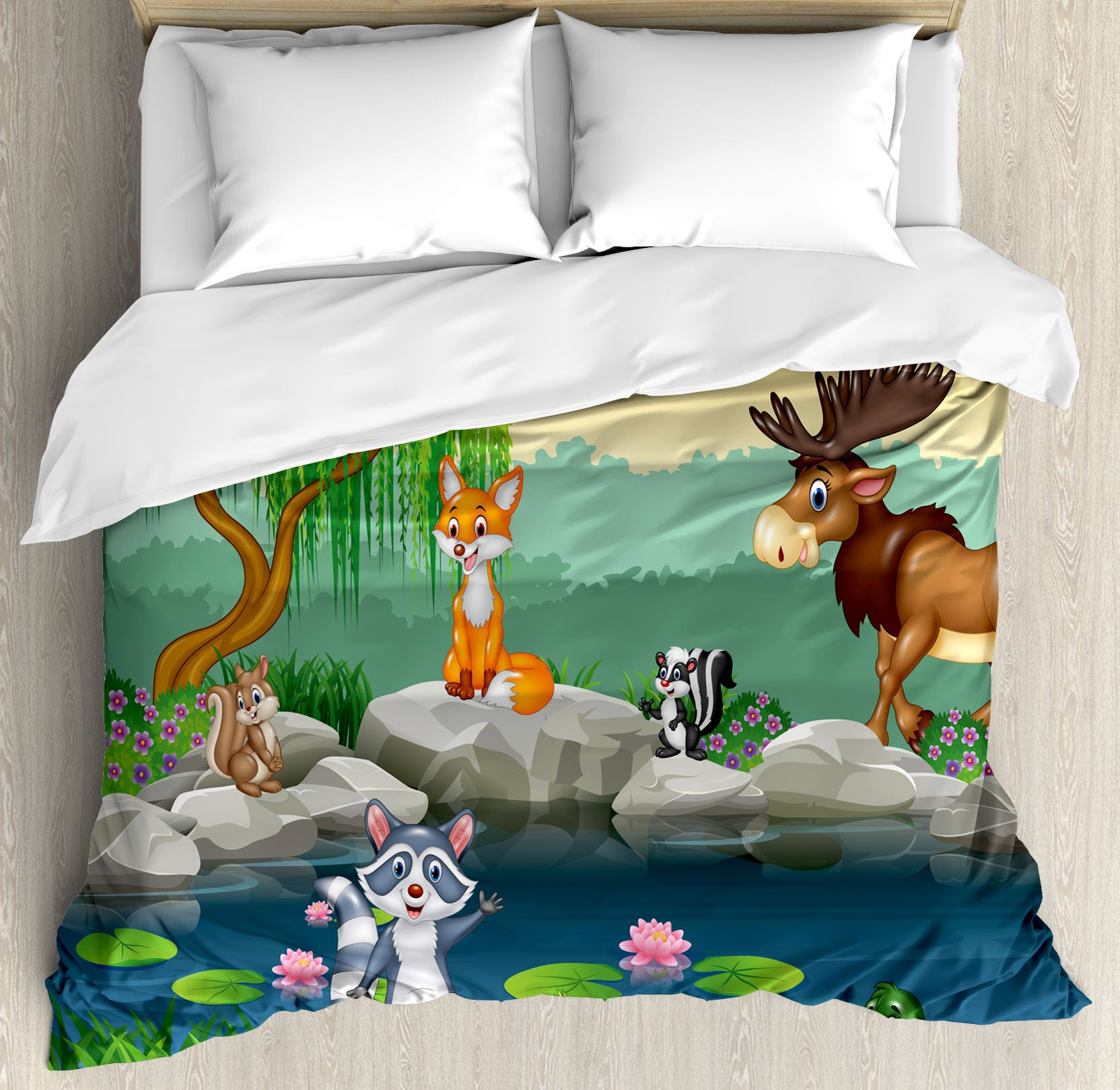 Cartoon Decor Duvet Cover Set by Ambesonne, Funny Mascots Animals by the Lake Moose Fox Squirrel Raccoon Kids Nursery Theme, 3 Piece Bedding Set with Pillow Shams, Queen / Full, Multi