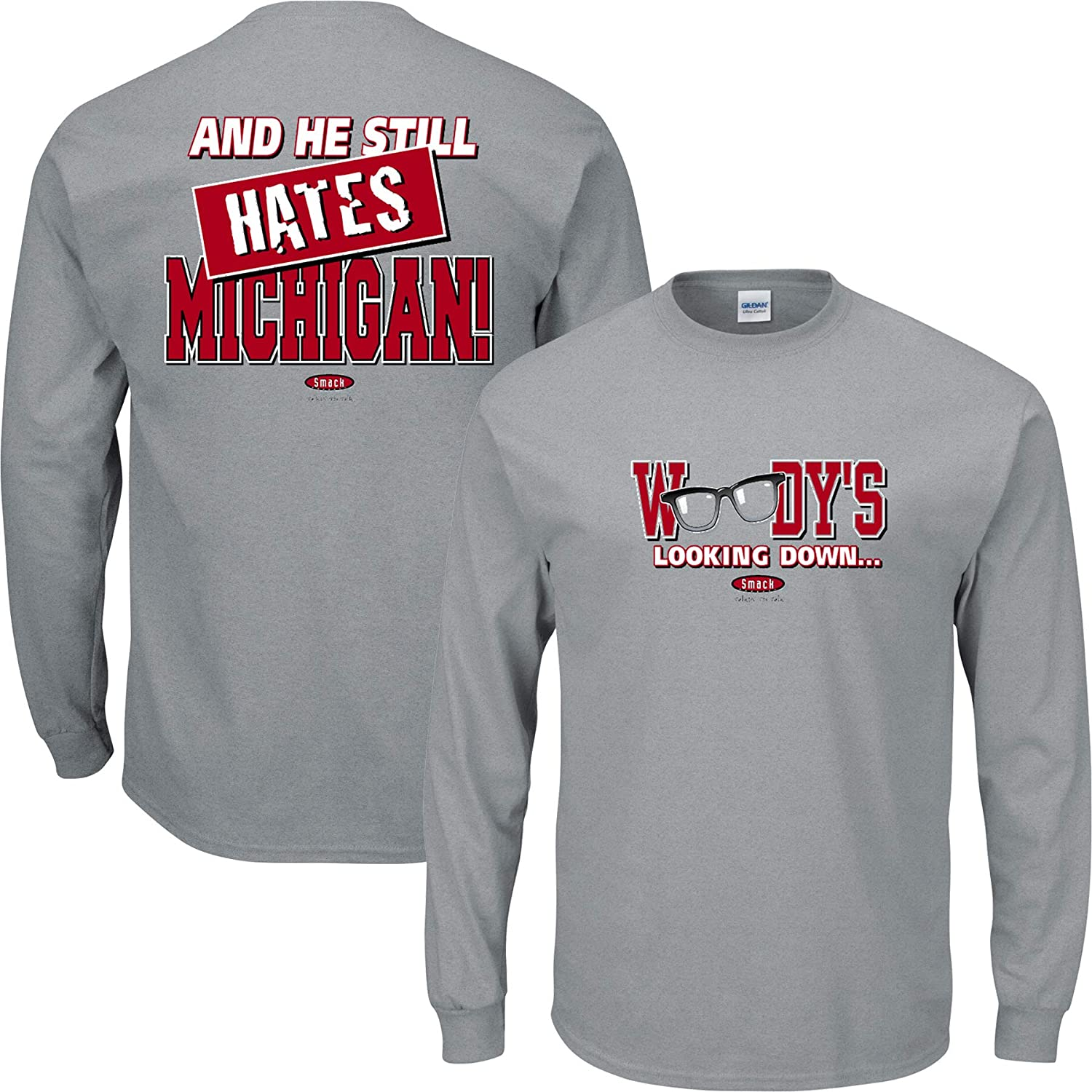 Smack Apparel Ohio State Football Fans. Woody's Looking Down (Anti-Michigan). Grey T-Shirt (Sm-5X)