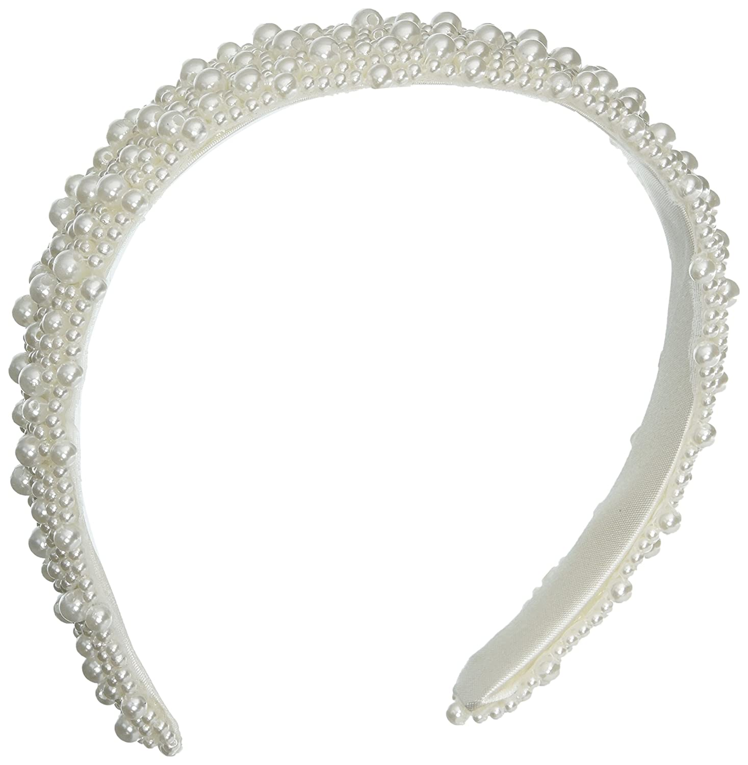 Darice V35231-01 Pearl Beaded Bridal Headband, White, 1-Inch