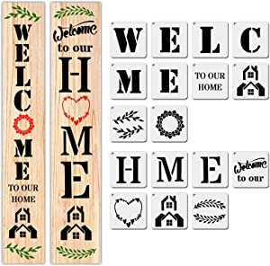 17 PCS Large Welcome and Home Sign Stencils Kit, Templates for Create Beautiful Wood Signs, Reusable Letter Stencils for Hotel Home Porch Decorations DIY