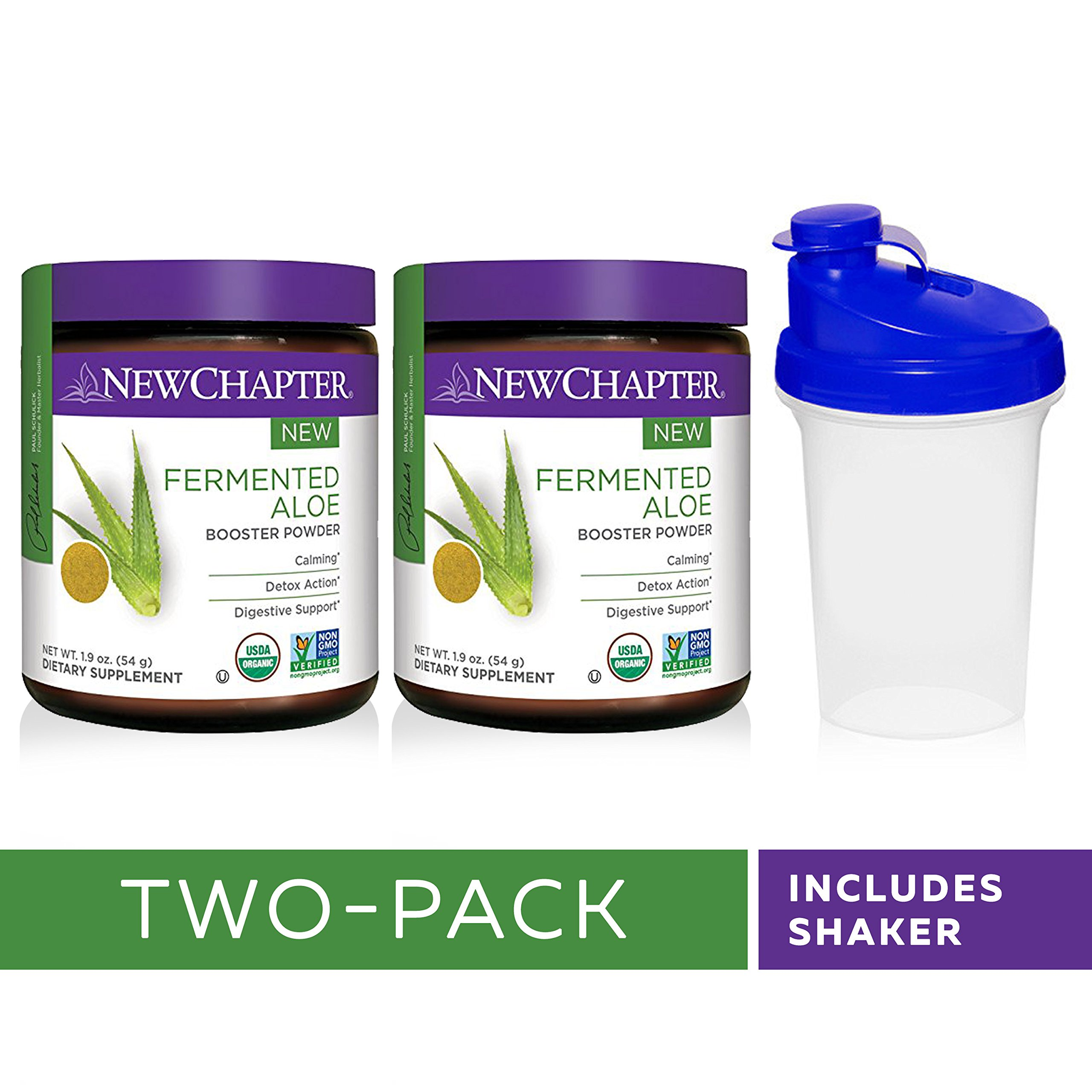 New Chapter Organic Aloe Powder – Fermented Aloe Booster Powder for Calming + Detox Action + Digestive Support – 45 Servings with Shaker Cup (Pack of 2)