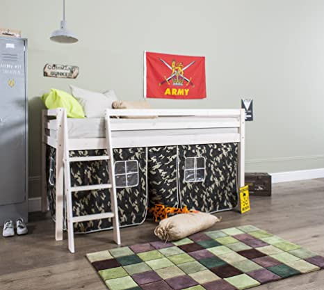 Noa and Nani - Midsleeper Cabin Bed with Army Camouflage Tent - (Whitewash)