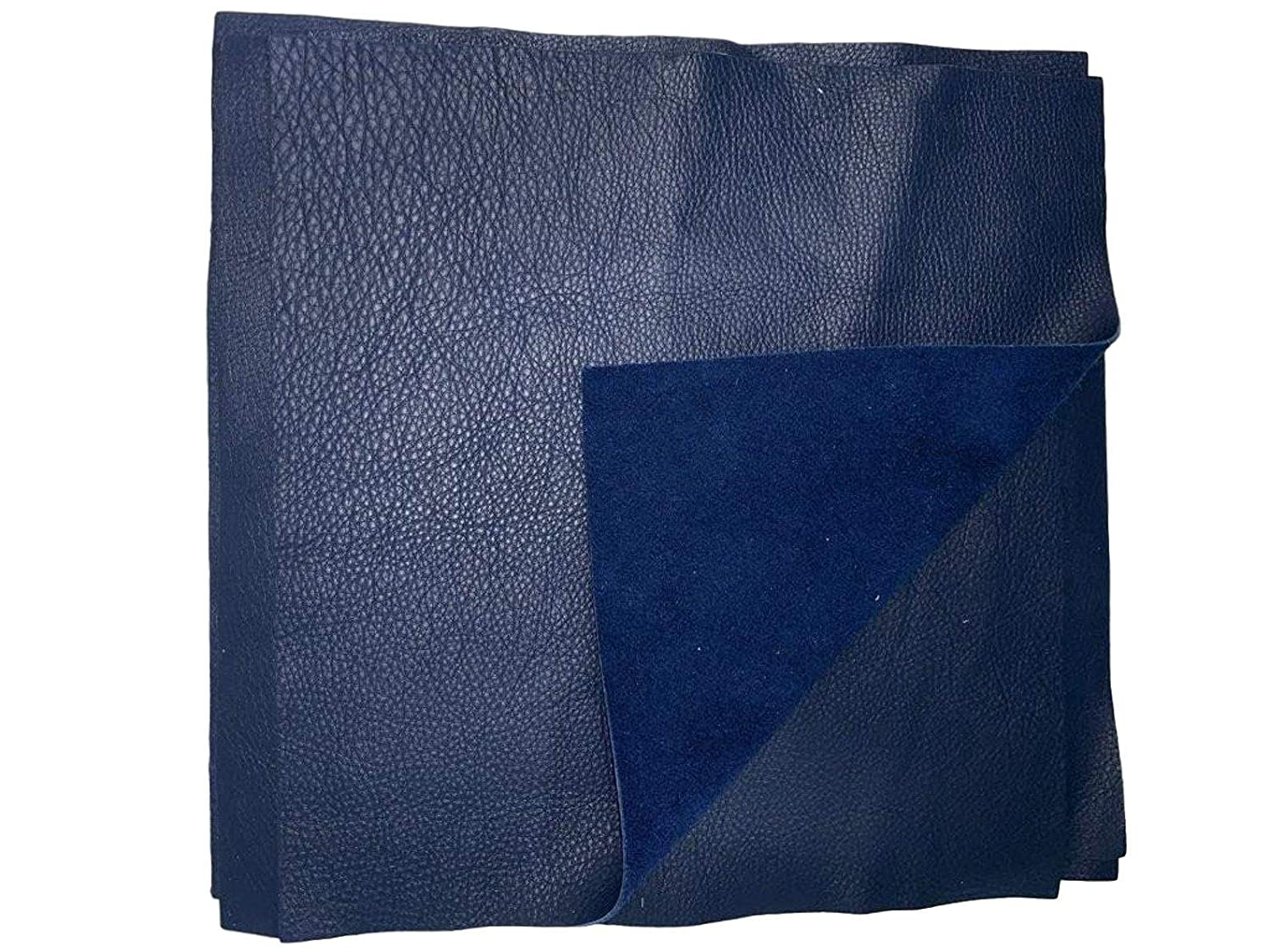 Navy Cowhide Soft Natural Grain Leather 2.5-3 oz 12 x 12 PRE Cut Squares