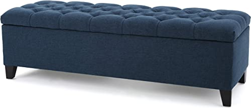Christopher Knight Home Ottilie Fabric Storage Ottoman, Dark Blue
