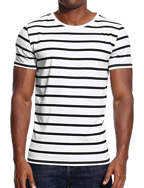 60402523da Striped T Shirt for Men Stripes Casual Tee Top Crew Neck Cotton White Black  S