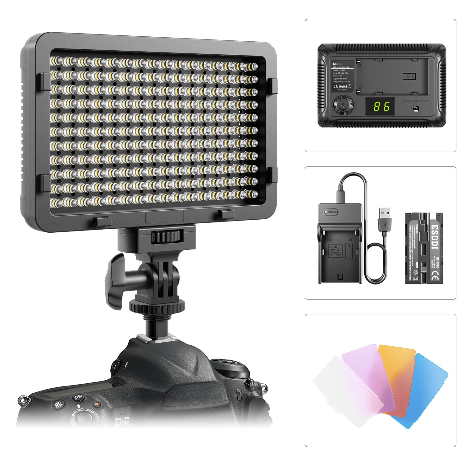 LED Video Light, ESDDI 176 LED Ultra Bright Dimmable Camera Panel Light with battery and USB Cable for Canon, Nikon, Pentax, Panasonic, Sony, Samsung, Olympus and All DSLR Cmeras by ESDDI