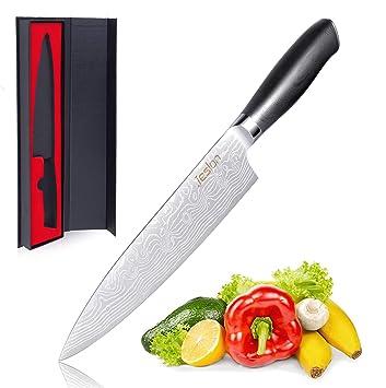 Jeslon 20 cm Cuchillo de Cocina, Cuchillo Chef Profesional Acero Inoxidable de 7Cr17 para Carnes Fruta Verdura, Cuchillo Cocinero G10 Mango Ergonómico ...