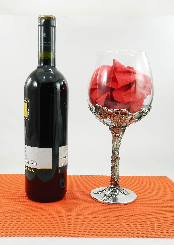 personalizzato con scritta Bicchiere vetro per vino rosso o bianco regalo 70 anni Natale Made in Italy Cavagnini