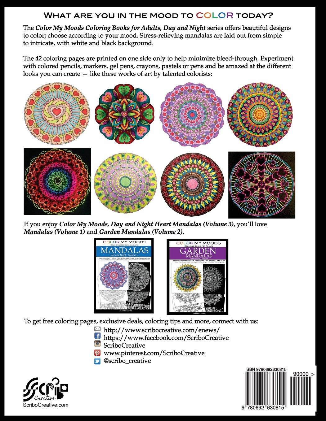 Color My Moods Coloring Books For Adults Day And Night Heart Mandalas Volume 3 Calming Mandala Patterns Stress Relief Relaxation To Help