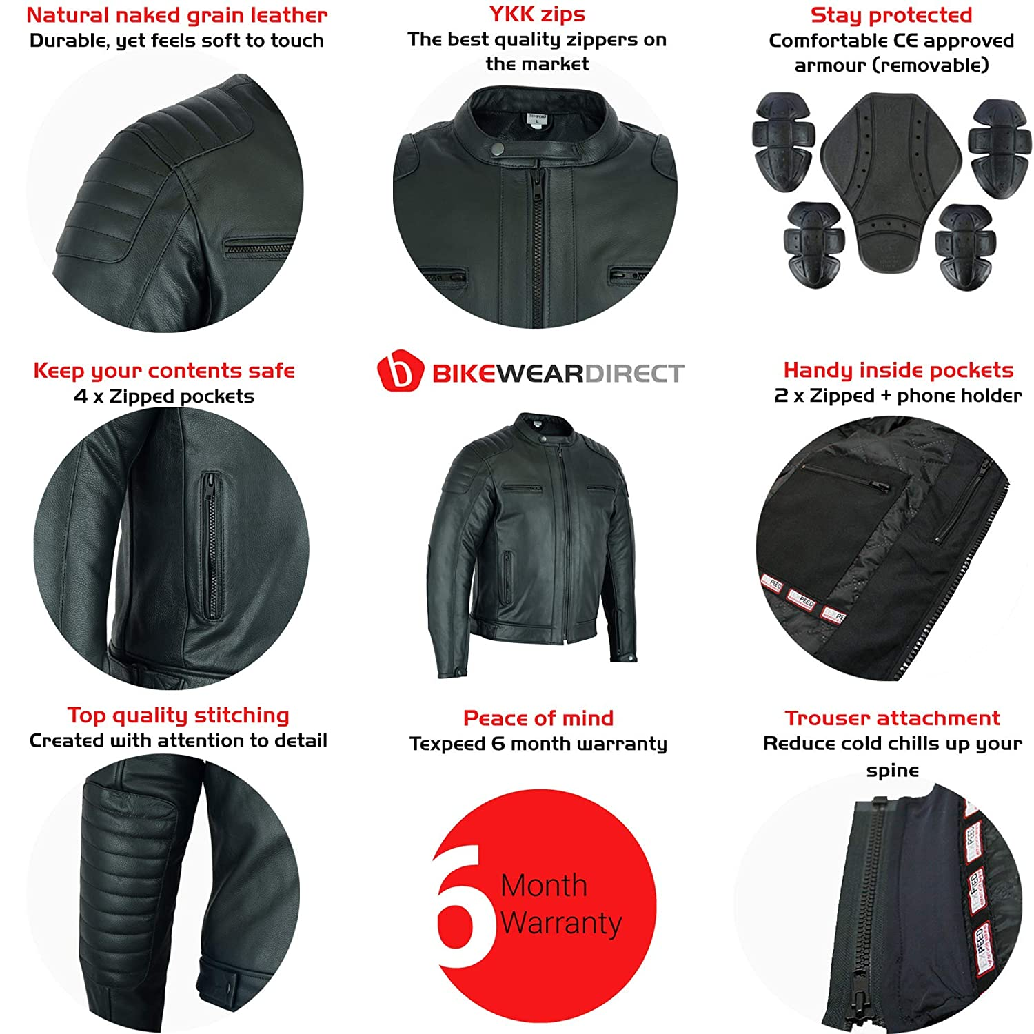 M to 5XL Texpeed Black Quality Cowhide Leather Motorcycle//Motorbike Jacket