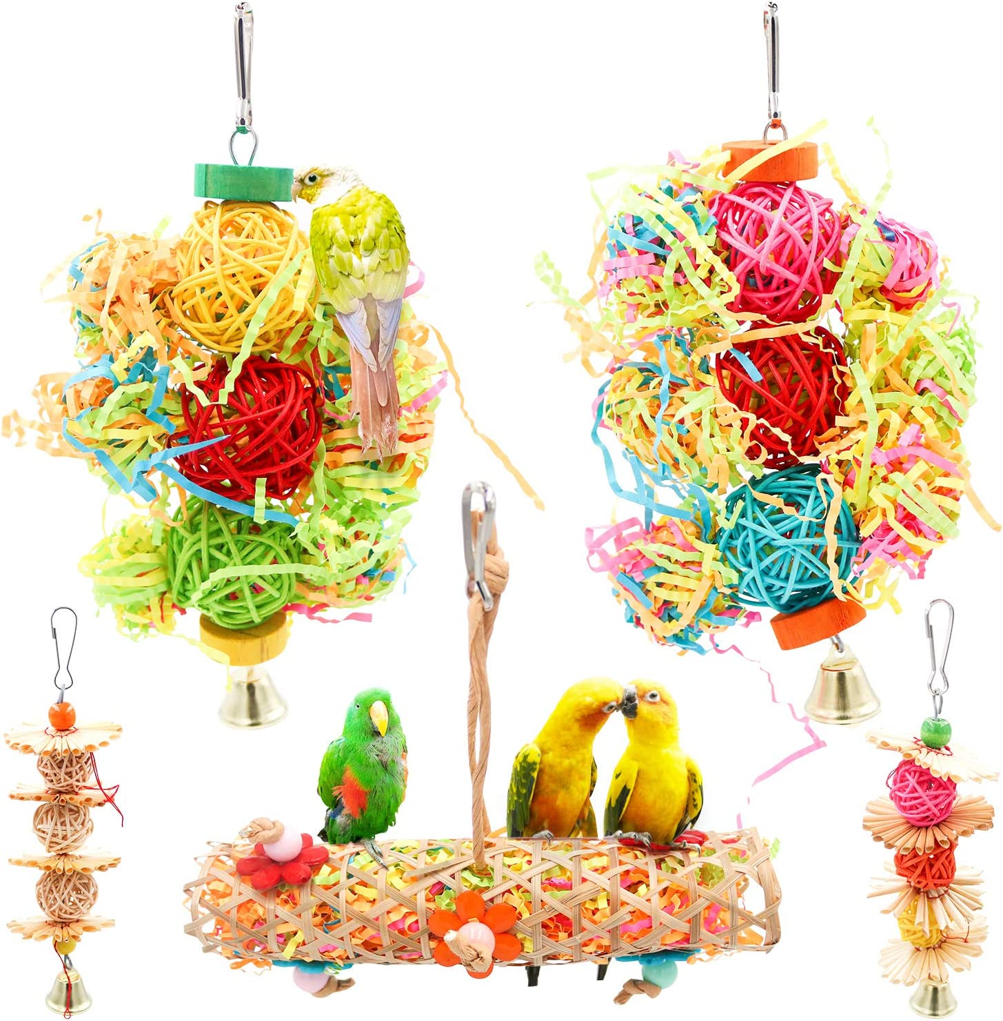 Bac-kitchen Parrot cage Toys Bird Swing Toys Parrot Shredder Toy Shred Foraging Hanging Cage Toy Wood Beads Bells Wooden Hammock Hanging Toys for Budgie Lovebirds Conures Parakeet