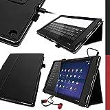 """igadgitz Premium Folio Noir en Cuir PU Étui Housse Case Cover pour Sony Xperia Tablet Z2 SGP511 10.1"""" avec Support Multi-Angles + Courroie de Main + Mise en Veille/Réveil + Film de Protection"""