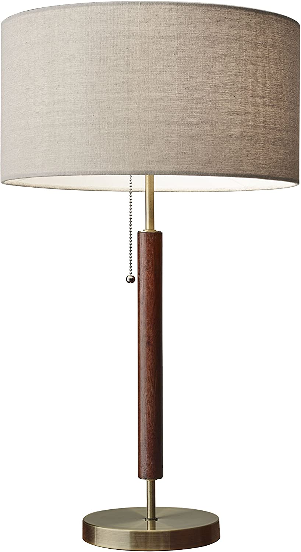 Adesso 3376 15 Hamilton Table Lamp 26 25 In 100w Incandescent 26w Cfl Walnut Eucalyptus Wood Antique Brass 1 Modern Lamp