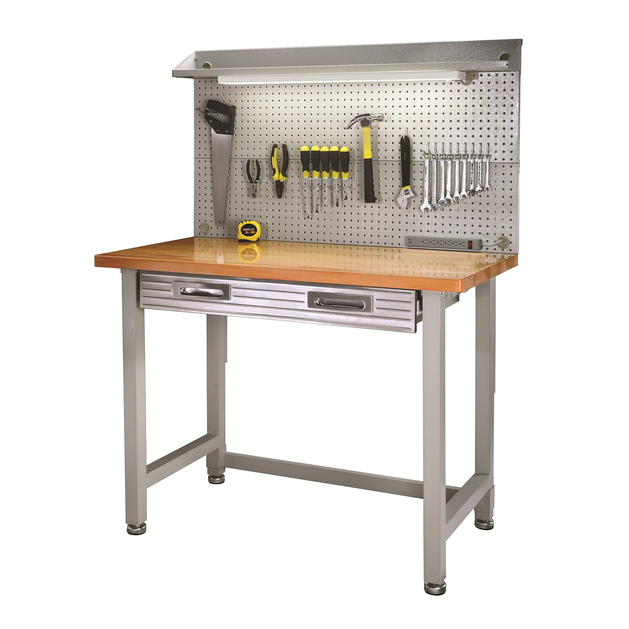 Seville Classics (UHD20247B) UltraHD Lighted Workbench (48L x 24W x 65.5H Inches) Stainless Steel by Seville Classics