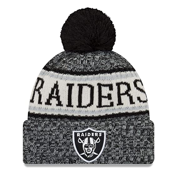 9fbc6d2d084 Oakland Raiders NFL Sideline - Bonnet à Pompon - Noir  Amazon.fr ...