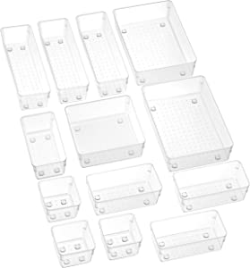 SMARTAKE 13-Piece Drawer Organizer with Non-Slip Silicone Pads, 5-Size Clear Desk Drawer Organizer Trays Storage Tray for Makeup, Jewelries, Utensils in Bedroom Dresser, Office and Kitchen