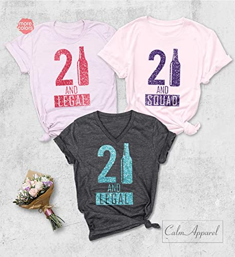 Amazon 21st Birthday Shirt Party Shirts 21 And Legal T Squad Tops For Girls Handmade